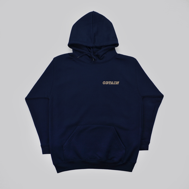 OBTAIN Ceramic Hoodie. Dark blue. Handprinted in Germany.