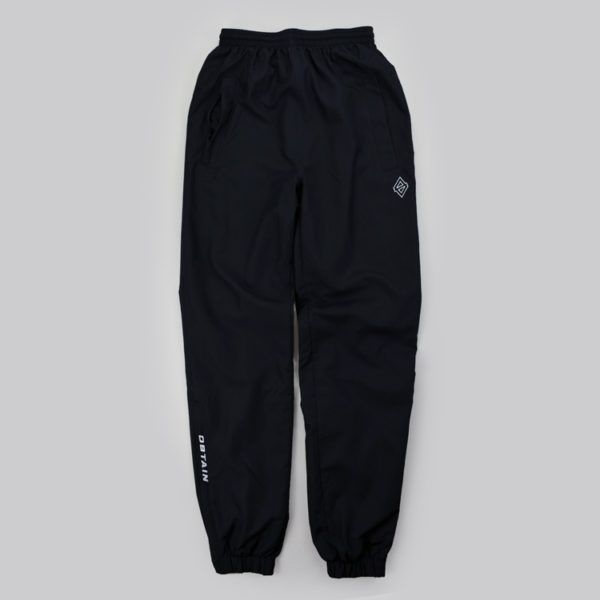 OBTAIN Trackpants. Color: black. Embroidered Logos. Sportswear.